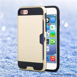 Rugged Shockproof Tough Back Case With Side Card Slot For iPhone 7 - Gold