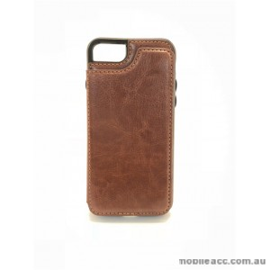 Luxury Leather Wallet Card Slot Holder Back Case Cover For iPhone 6/6S/7/8 - Brown