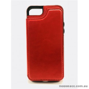 Luxury Leather Wallet Card Slot Holder Back Case Cover For iPhone 6/6S/7/8 - Red