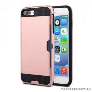 Rugged Shockproof Tough Back Case With Side Card Slot For iPhone 7 Plus  Rose Gold