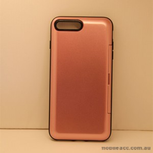 Slide Bumper Stand Case With Card Holder For iPhone 7 Plus - Rose Gold