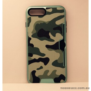 Camouflage Slim Armor Hybird Impact Bumper Card Slot Shockproof Case For iPhone 7 - Green