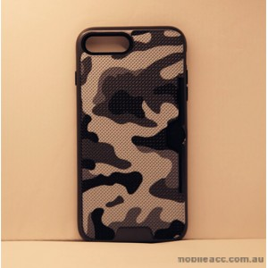 Camouflage Slim Armor Hybird Impact Bumper Card Slot Shockproof Case For iPhone 7 Plus - Black