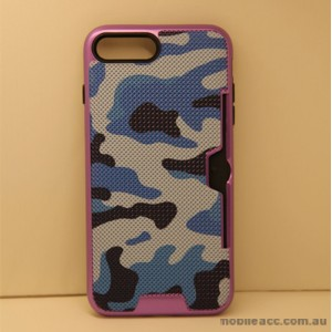 Camouflage Slim Armor Hybird Impact Bumper Card Slot Shockproof Case For iPhone 7 Plus - Purple