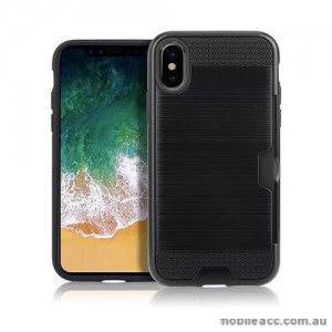 Rugged Shockproof Tough Back Case With Side Card Slot For iPhone X - Black