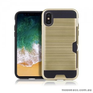 Rugged Shockproof Tough Back Case With Side Card Slot For iPhone X - Gold