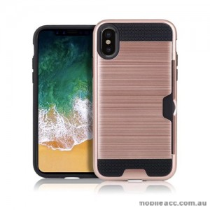 Rugged Shockproof Tough Back Case With Side Card Slot For iPhone X - Rose Gold