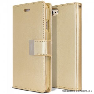 Mercury Rich Diary Wallet Case for iPhone X - Gold
