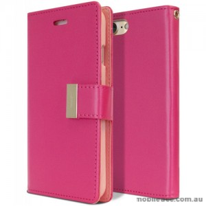 Mercury Rich Diary Wallet Case for iPhone X - Hot Pink