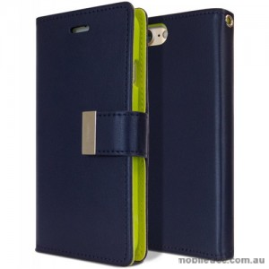 Mercury Rich Diary Wallet Case for iPhone X - Navy