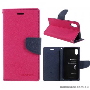 Korean Mercury Fancy Diary Wallet Case For iPhone X - Hot Pink