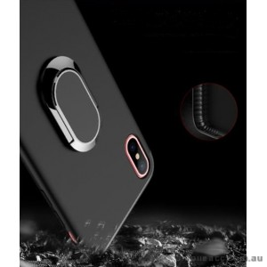 TPU Magnetic Holder With iRing Matte Finish For iPhone X - Black