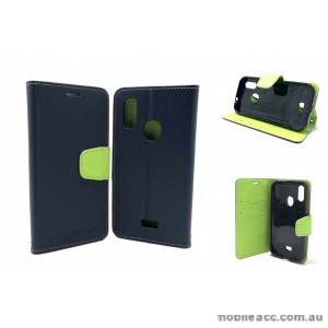 MooncaseStand Wallet Case Cover For Telstra  ZTE Tough MAX 3 T86  Navy Blue