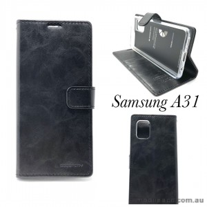 Bluemoon Diary Wallet Case For Samsung A31 6.4 inch  A315  Black
