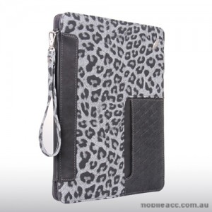 Snow Leopard Leather Case for iPad 2 / 3 / 4 - Grey