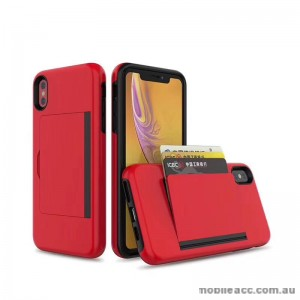 Soft Feeling Hard  Heavy Duty Case With Card Holder For iPhone XS MAX  6.5'  Red