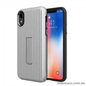 Luggage Case with Kickstand Shockproof Heavy Duty Case Cover For Iphone XS MAX 6.5'  Silver