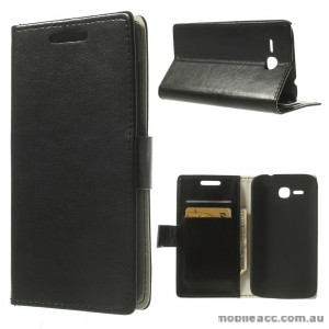 Magnetic Wallet Case Cover for Huawei Ascend Y600 - Black