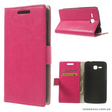 Magnetic Wallet Case Cover for Huawei Ascend Y600 - Rose