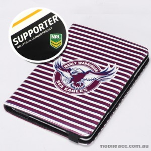 NRL Licensed Manly Sea Eagles PU Leather Wallet Case for iPad Air 2