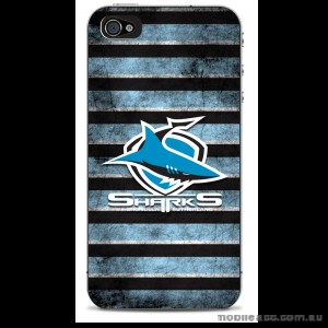 NRL Licensed Cronulla Sutherland Sharks Grunge Back Case for iPhone 4/4S