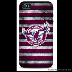 NRL Licensed Manly Warringah Sea Eagles Grunge Case for iPhone 4/4S