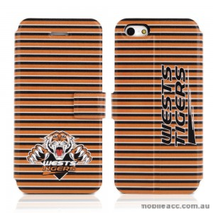 NRL Licensed Wests Tigers PU Leather Wallet Case for iPhone 5/5S
