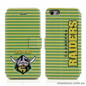 NRL Licensed Canberra Raiders PU Leather Wallet case for iPhone 5/5S