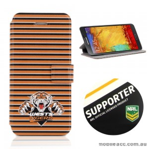 NRL Licensed Wests Tigers Wallet Case for Samsung Galaxy Note 3