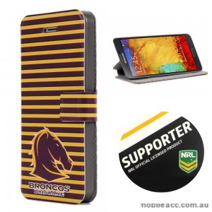 NRL Licensed Brisbane Broncos Wallet Case for Samsung Galaxy Note 3