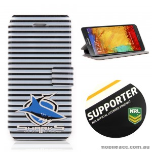 NRL Licensed Cronulla Sutherland Sharks Wallet Case for Samsung Galaxy Note 3