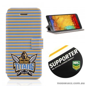 NRL Licensed Gold Coast Titans Wallet Case for Samsung Galaxy Note 3