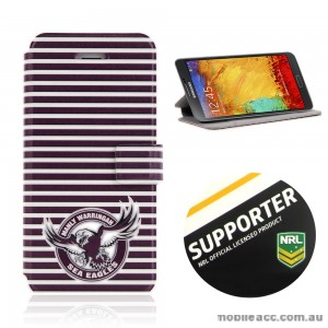 NRL Licensed Manly Warringah Sea Eagles Wallet Case for Samsung Galaxy Note 3