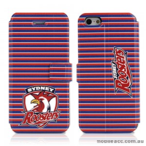 NRL Licensed Sydney Roosters PU Leather Wallet Case for iPhone 4/4S