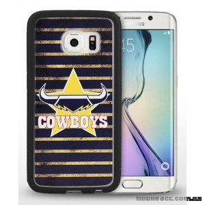 Licensed NRL Queensland Cowboys Grunge Jersey TPU 3D Case for Samsung Galaxy S6 Edge