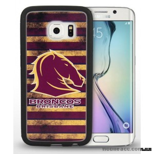 Licensed NRL Brisbane Broncos Grunge Jersey TPU 3D Case for Samsung Galaxy S6 Edge