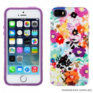 Speck CandyShell Inked iPhone 5s & iPhone 5 Cases Bold Blossoms White/Revolution Purple