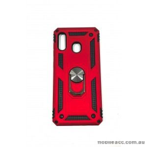 Anti Shock with Magnet Stand case for Samsung  A20 A30 Red