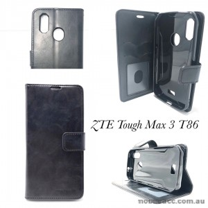 Mooncase Diary  Wallet Case Cover For Telstra  ZTE Tough MAX 3 T86  BLACK