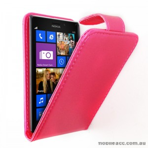 Synthetic Leather Flip Pouch Case for Nokia Lumia 925 - Hot Pink