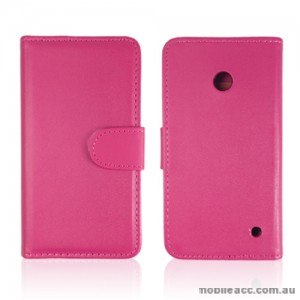 Synthetic Leather Wallet Case Cover for Nokia Lumia 630 635 - Hot Pink