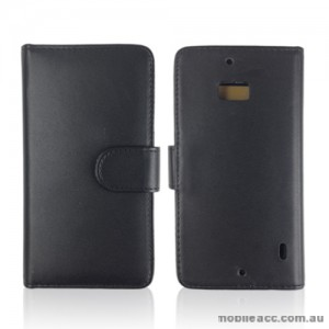 Synthetic Leather Wallet Case Cover for Nokia Lumia 930 - Black