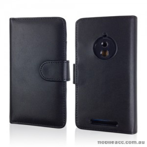 Synthetic Leather Wallet Case for Nokia Lumia 830 - Black