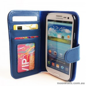Litchi Skin Wallet Case with ID Slot for Samsung Galaxy S3 i9300 - Blue