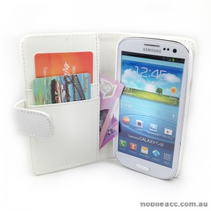 Snake Skin Wallet Case for Samsung Galaxy S3 - White
