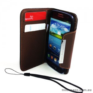 Synthetic Leather Wallet Case with Iron for Samsung Galaxy S3