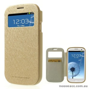 Korean WOW Window View Flip Cover for Samsung Galaxy S3 - Gold