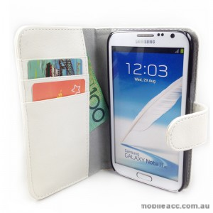 Loel Quality Wallet Case for Samsung Galaxy Note2 N7100 - White