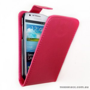 Synthetic Leather Flip Case with Card Holder for Samsung Galaxy Express i8730 - Hot Pink