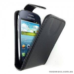 Synthetic Leather Flip Case for Telstra Samsung Galaxy Young S6310 - Black